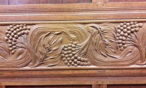 Detail of woodcarving, showing the rowan tree motif