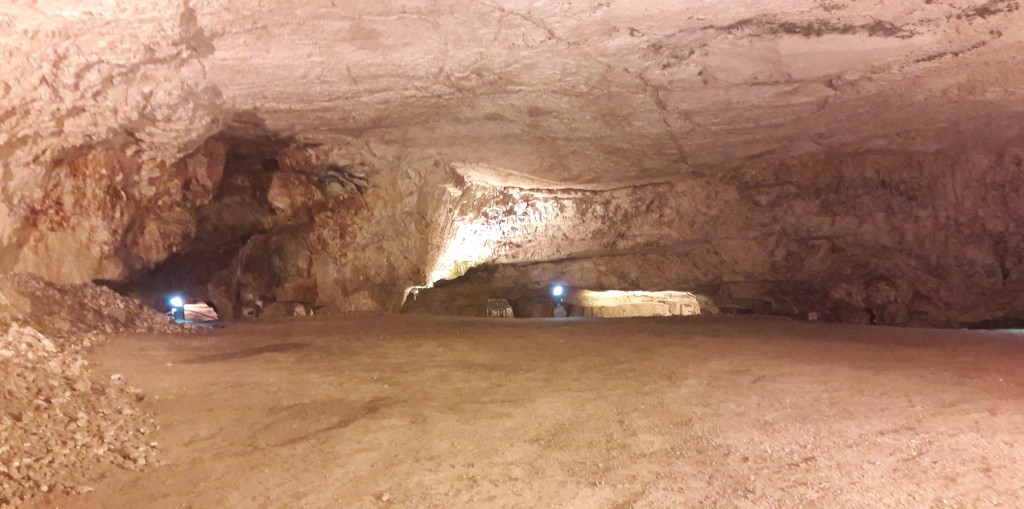 Standing in the largest cave of the hugh subterranean stone quarry extending right under the Old City, known as King Solomon's Quarries. This cave is known as The Freemasons Hall, where ceremonies are still held to this day.