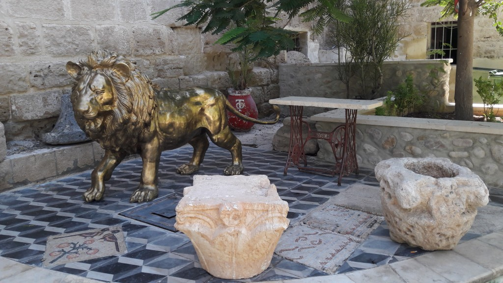St Gerassimos Greek Orthodox Monastery main entrance with the Golden Lion ( and an old singer sewing machine!)