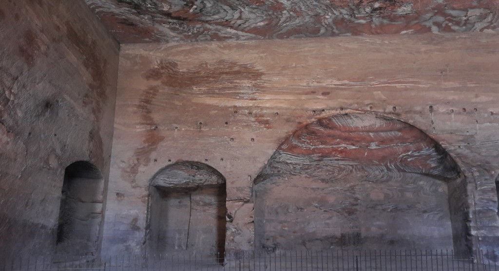 Inside Petra Cave tombs, showing the amazing natural sandstone formations